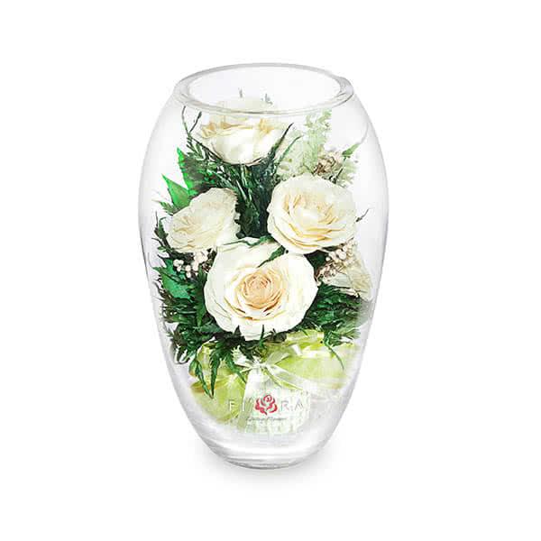 Айвори розы в вазе средний эллипс