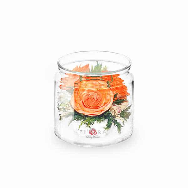 Оранжевая роза в низком цилиндре с дугой