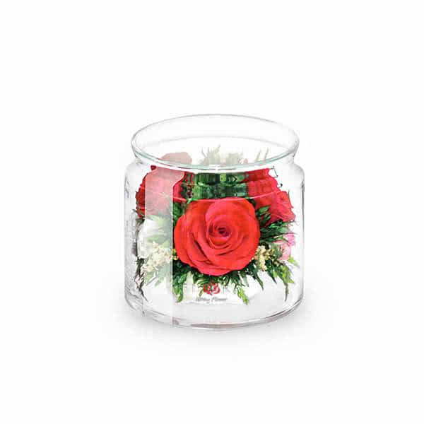 Красная роза в низком цилиндре с дугой