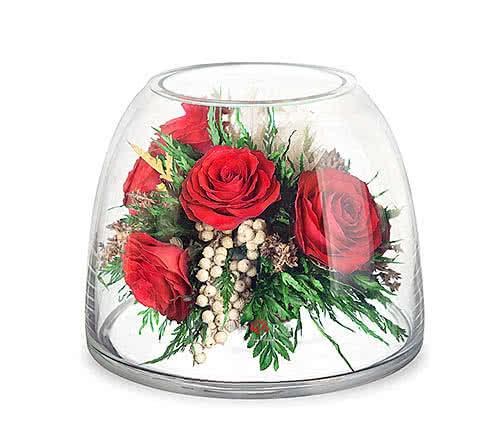 Цветы в стекле (вакууме) - Красные розы в зеленой корзине в цилиндре с зауженным верхом - 40658