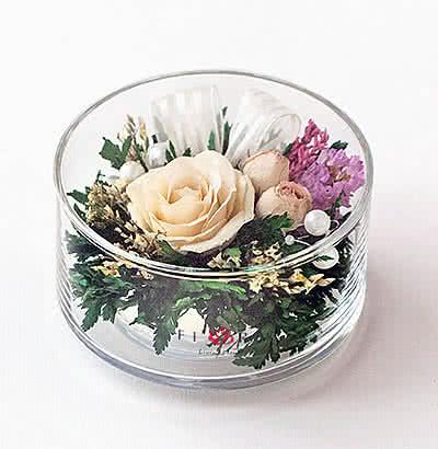Цветы в стекле (вакууме) - Мини и оригинальные в малом плоском цилиндре - 47312