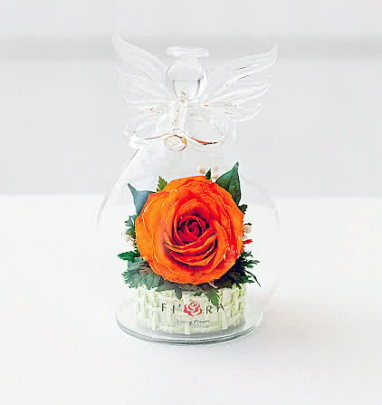 Цветы в стекле (вакууме) - Мини и оригинальные в вазе формы ангела с музыкальной трубой - 44892