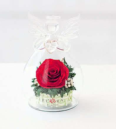 Цветы в стекле (вакууме) - Мини и оригинальные в вазе формы ангела с сердцем - 43123