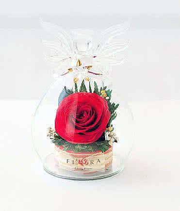 Цветы в стекле (вакууме) - Мини и оригинальные в вазе формы ангела с звездой - 34619