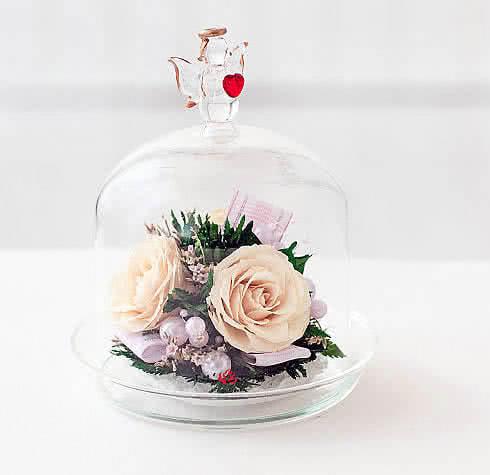 Цветы в стекле (вакууме) - Мини и оригинальные в вазе формы капкейка с ангелом - 43116