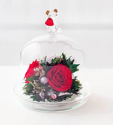Цветы в стекле (вакууме) - Мини и оригинальные в вазе формы капкейка с медвежонком - 46582