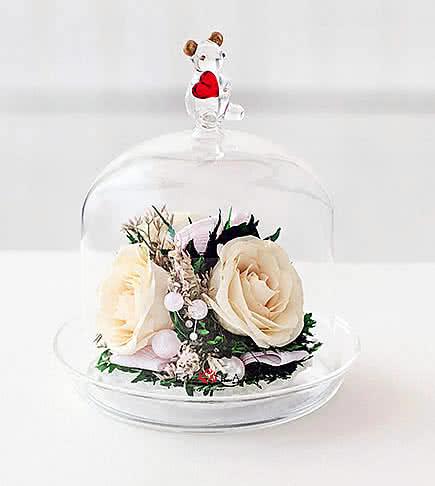 Цветы в стекле (вакууме) - Мини и оригинальные в вазе формы капкейка с медвежонком - 46599