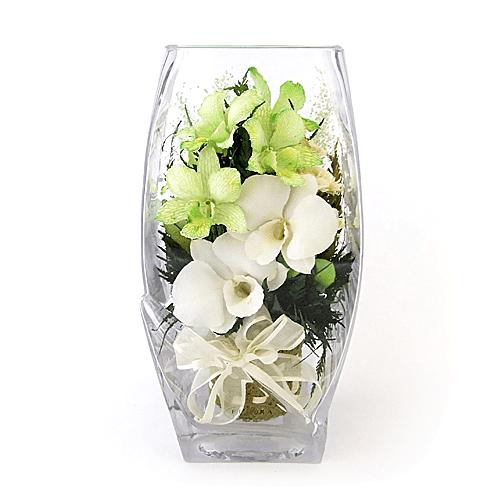 Белые и бело-зеленые орхидеи в вазе с квадратным верхом