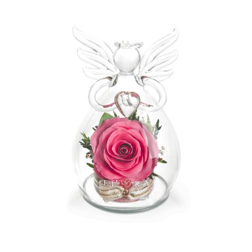 Ваза в форме ангела с сердцем с розовой розой