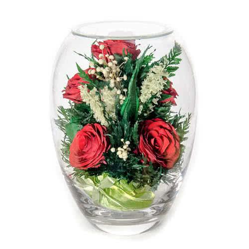 Красные розы в вазе малый эллипс