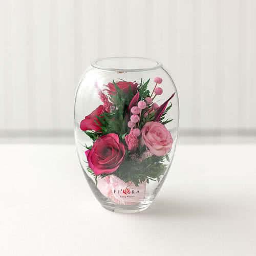 Лиловые и светло-розовые розы в вазе малый эллипс