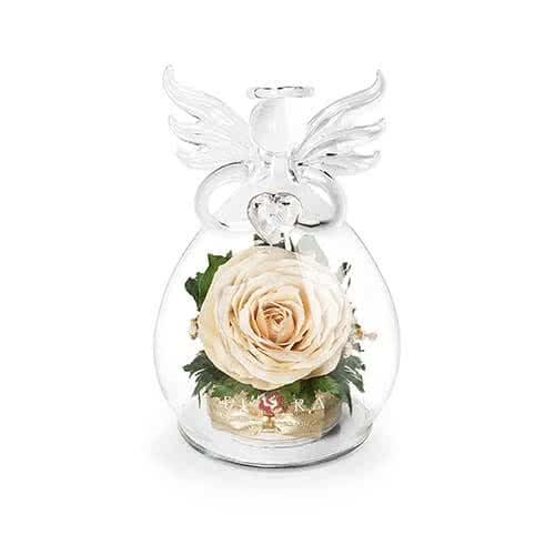 Ваза в форме ангела с сердцем с айвори розой