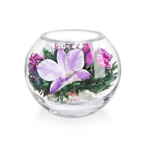 Орхидеи с мини диантусами в малой круглой вазе