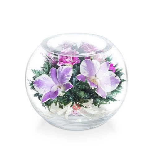 Бело-розовые и белые орхидеи с диантусами в круглой вазе