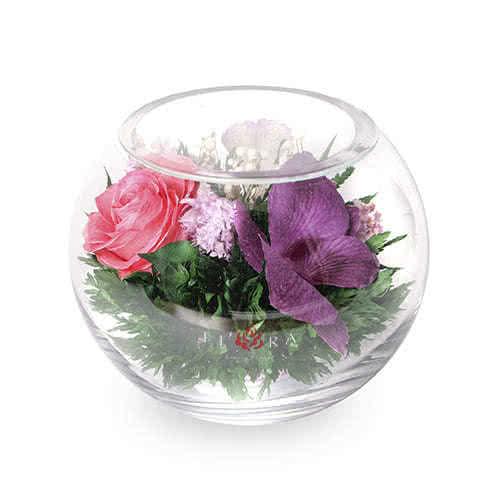 Сиренево-белые и фиолетовые орхидеи с розовой розой