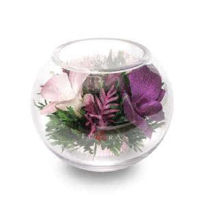 Розоватые и сиреневые орхидеи в круглой вазе