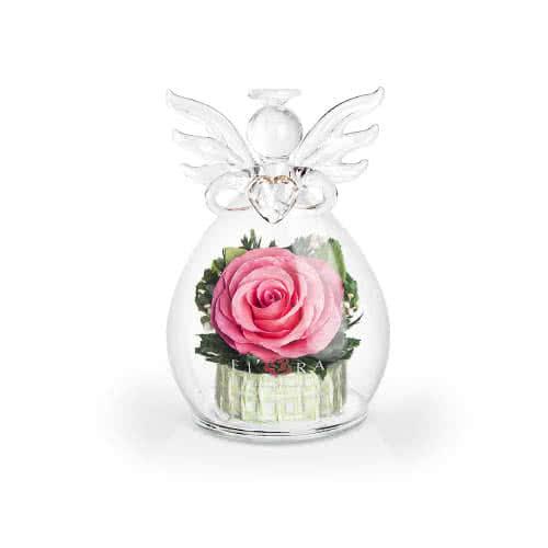 Розовая роза в вазе ангела с сердцем
